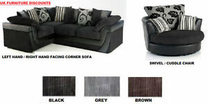 Brand New Lucy Lush Corner Sofa Suite Cuddle Swivel Chair Black Grey