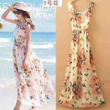 Women Summer Chiffon Floral Boho Bohemian Long Maxi Dress Beach Dresses Sundress