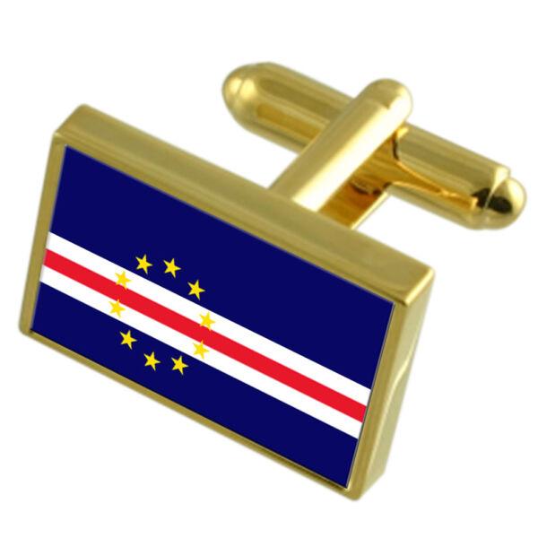 Kap Verde Goldton Country Flagge Manschettenknöpfe Select Geschenk Beutel