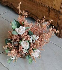 bouquet de fleurs séchées dans pot cuivre orange-vert