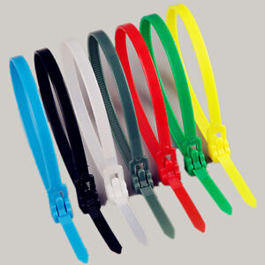 Releasable-Nylon-Cable-Tie-Reusable-Self-Locking-Tie-Red-Yellow-Blue-Green-White