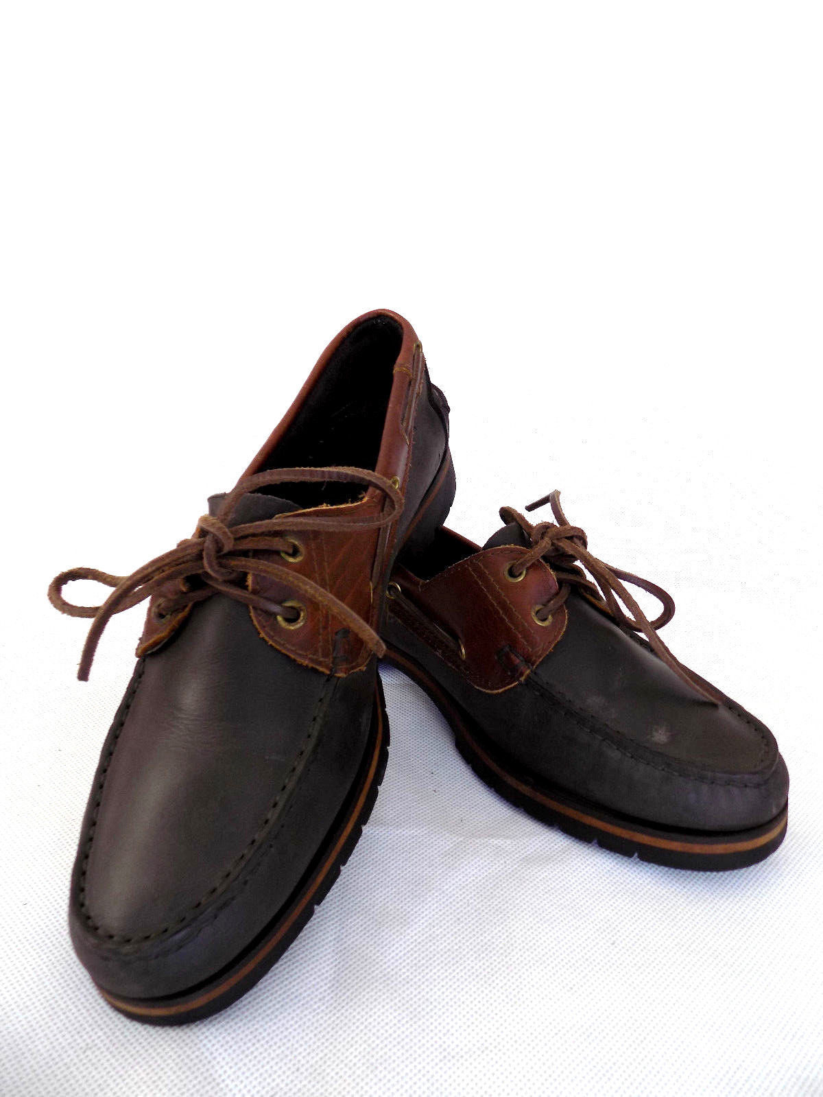 TEXTER Mens Boat Shoes Size 43 Brown and Gray Blue Leather Casual Shoes Summer