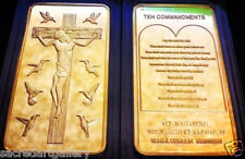 Ten Commandments on Tablet of Law of Jesus 1Oz Gold Holy Cross Catholic Sign Bar