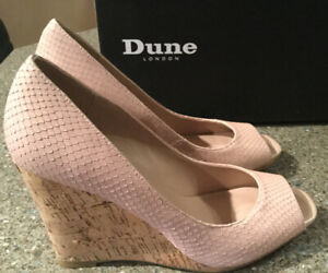 DUNE-630-CHARLOTTE-BLUSH-REPTILE-SQUARE-TOE-PEEP-WEDGE-SIZE-UK5-EU38-New-In-Box