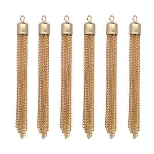 6x-Handmade-Long-Chain-Tassel-Pendant-Jewelry-Making-Charms-Beads-Light-gold