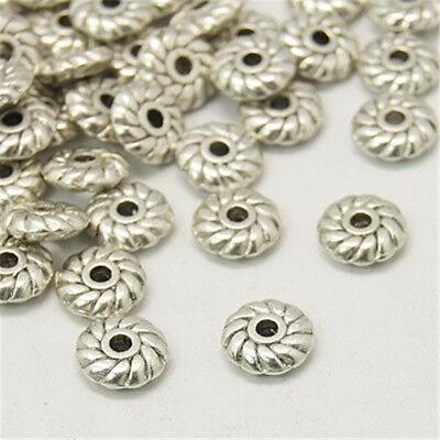 100 Lead Free Cadmium Free Antique Silver Tibetan Silver Gear Spacer Beads 6x2mm
