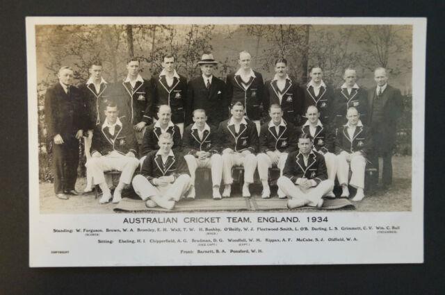 Vintage Postcard - 1934 Australian Test Cricket Team -inc. Bradman,O'Reilly etc.
