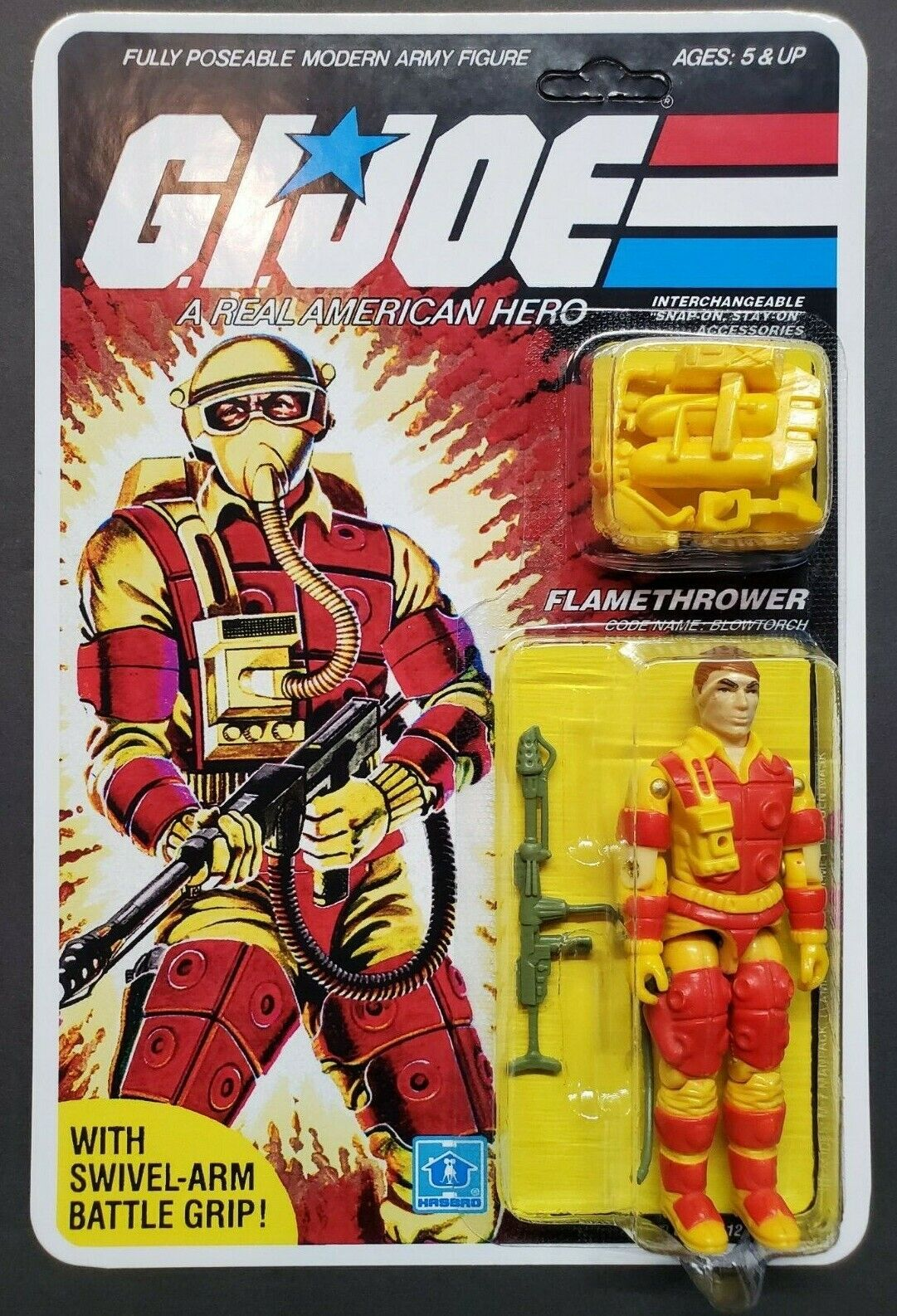 G.I. Joe 1983 Blow Torch 100% Complete Carded un-punched