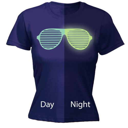 Glow In The Dark Sunglasses WOMENS T-SHIRT Party Dance Rave Club Gift birthday