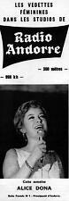 ▬► PUBLICITE ADVERTISING AD RADIO ANDORRE Alice Dona 11 Juillet 1965