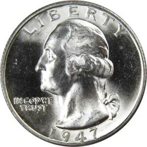 1947-S-25c-Washington-Silver-Quarter-US-Coin-Uncirculated-Mint-State