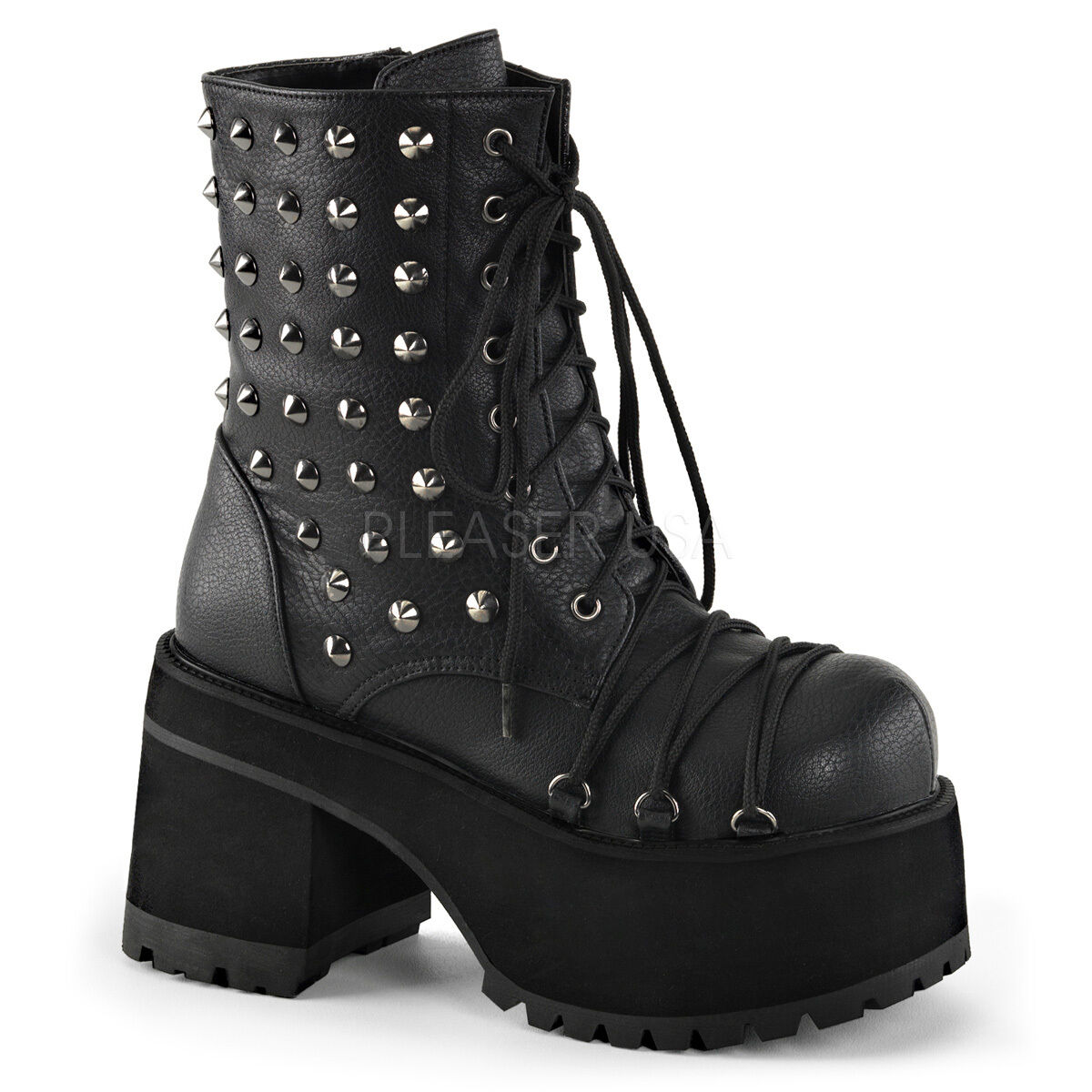 Demonia 4  Platform Black Ankle Boots w  Lace & Spikes 6 7 8 9 10 11 12