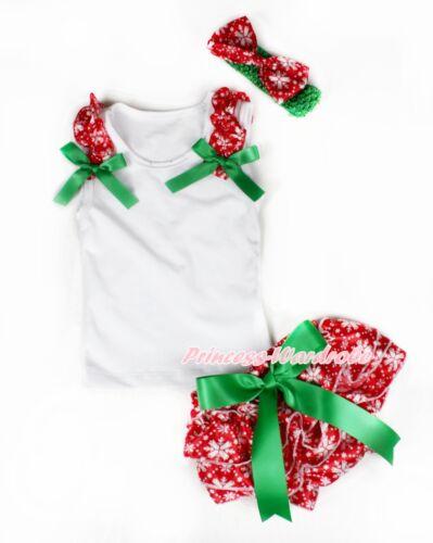 XMAS White Tank Top Snowflake Ruffles Green Bow Snowflake Baby Bloomer NB-12M