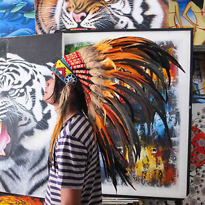 75cm Real Feather War Bonnet Indian Headdress// Native American Chief Costume