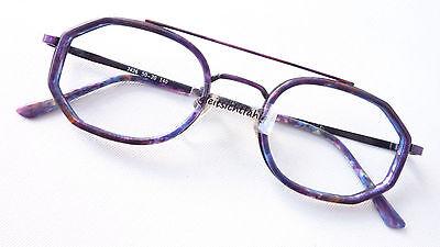 Occhiali Brille Gestell Metall Kunststoffrahmen Lila Mehreckig Doppelsteg Size M