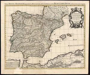 Antique MapNORTH AFRICASPAINPORTUGALIBERIAN PENINSULADe L - Portugal map north