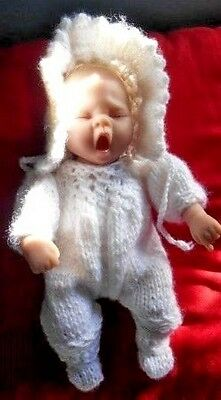 """Doll Clothes 3 pcs White Set Romper Booties Bonnet Fits Baby Truly Real 10""""  12"""""""