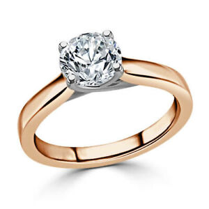 1.00 Ct Round Cut Real Moissanite Anniversary Ring 14K Solid Rose Gold Size 7