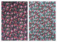 Vintage Floral Pink Roses Cotton Poplin Patchwork Dressmakers Dress Fabric