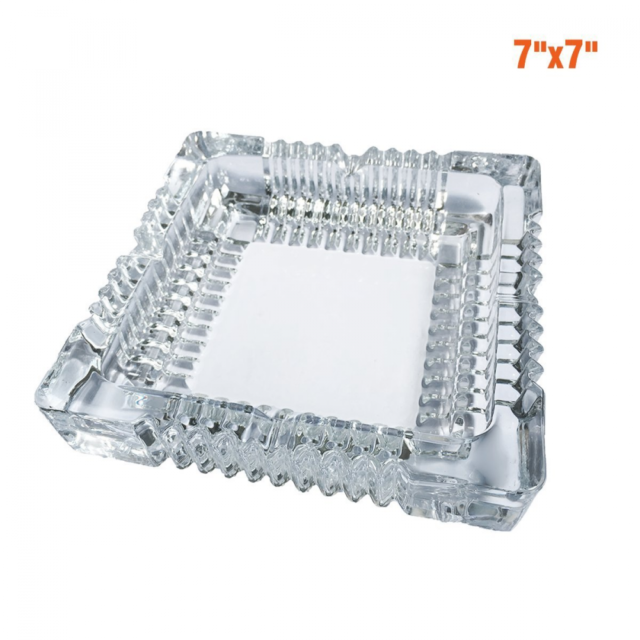 Clear Glass Rectangle Cigar Ashtray Single Rest  Smoker Christmas Present Gift