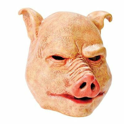 PIG ADULT HALLOWEEN SCARY MASK HORROR LATEX SAW FANCY DRESS ANIMAL EVIL DELUX