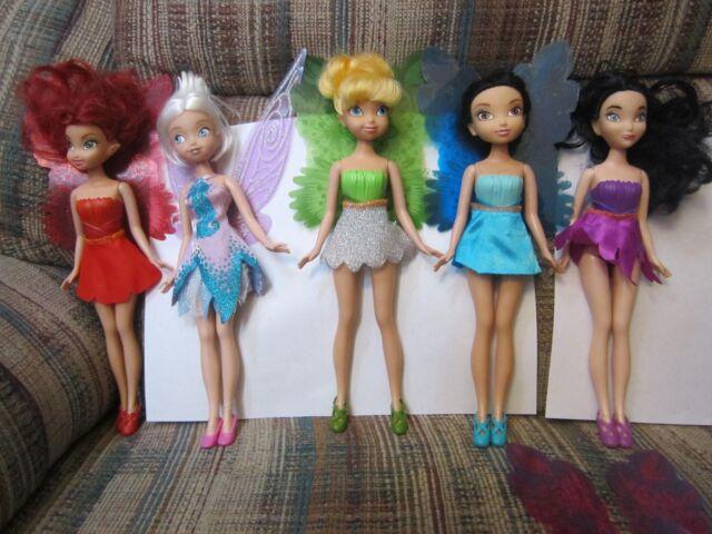 Disney Doll Fairy Lot Tinkerbell Rosetta Silvermist Periwinkle Vidia 9