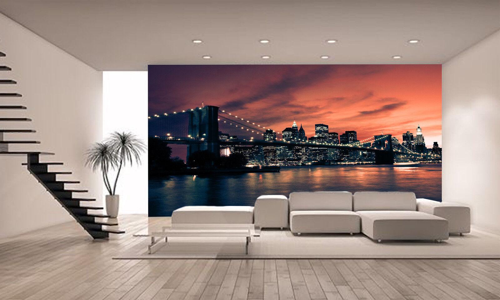Brooklyn Bridge Wall Mural Photo Wallpaper GIANT DECOR Paper Poster Free Paste