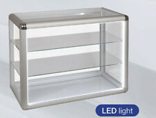 Glass Countertop Display Case With Led Lights And Front Lock Silver 24x12x18