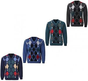 Mens-Knitted-Jumper-Diamond-Pattern-V-Neck-Long-Sleeves-Knit-Top