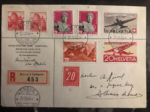 1944 Bern Schweiz Luftpost Ersttagsbrief zu Genf #C38 C40