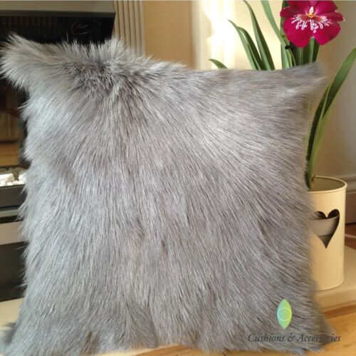 COSY GREY 40x40CM GENUINE REAL TIBETAN MILK GOATSKIN LAMB WOOL FUR CUSHION COVER