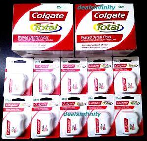83e79660e 12 x New Colgate Total Dental Floss Waxed Dental Floss 25 m Pack ...