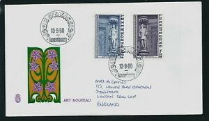 Luxembourg-1980-first-day-cover-ART-NOUVEAU-SHS-CD-utilise
