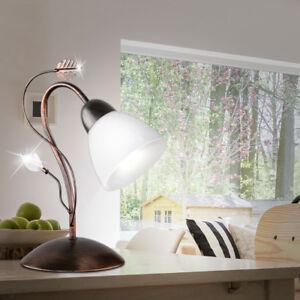 LED-Lampe-de-table-couleur-rouille-ancien-ess-chambre-verre-Cable-interrupteur