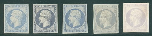 FRANCE #17 25c, 5 diff color PROOFS VF