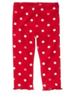 d05898345da44 GYMBOREE VALENTINES DAY RED DOTS N HEARTS LEGGINGS 3 6 12 18 24 2T ...