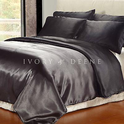 Satin Doona Cover Reversible Black/Charcoal Queen Size New Quilt Duvet Silk Feel