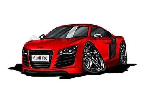 Audi R8 Red Caricature Car Cartoon A4 Print