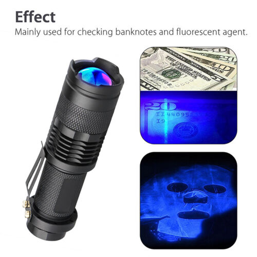LED Ultra Violet UV 365nm Blacklight Flashlight Inspection Lamp Torch Useful JE
