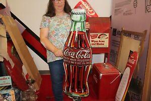 "Rare Large Vintage 1933 Coca Cola 1923 Christmas Bottle 39"" Embossed Metal Sign"