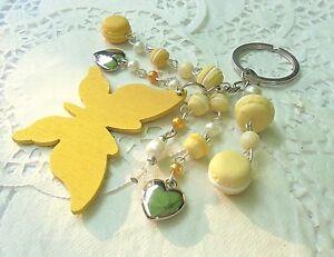 PORTE-cle-CLEFS-papillon-Macarons-en-Fimo-perles-idee-cadeau-Unique-Neuf