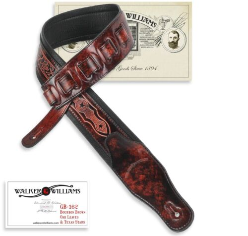 Walker /& Williams GB-162 Bourbon Brown Padded Strap withOak Leaves /& Texas Star