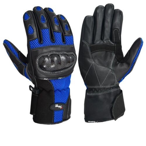 Motorcycle Motorbike leather Vented gloves Carbon Knuckle 3 Colours