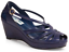 Collectif 50s Giada Navy Blue Wedge Sandals