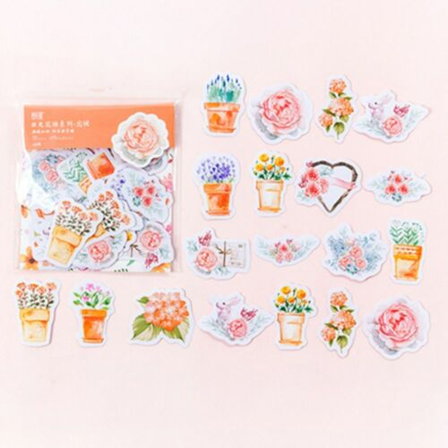 45Pcs Journal Diary Flower Stickers Scrapbooking Decor Office School Stationery