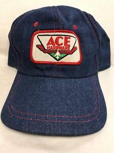 218430f49e644 Rare Vintage Ace Hardware Denim Trucker Hat Baseball Cap Snapback Mesh  Young An