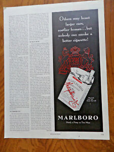 Details about 1950 Marlboro Cigarettes Ad Nobody can smoke a better  Cigarette