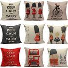 Vintage British Style Linen Home Decor Sofa Throw Pillow Case Cushion Cover