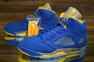 Air-Jordan-5-034-Laney-034-Blue-Yellow-CD2720-400-Basketball-Shoes-Men-039-s-Multi-Size