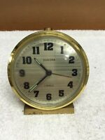 Vintage Europa 2 Jewels Wind Up Brass Alarm Clock